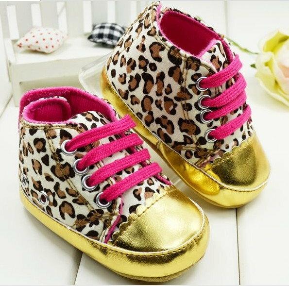 女寶寶學步鞋軟底嬰兒花童鞋-金色豹紋款