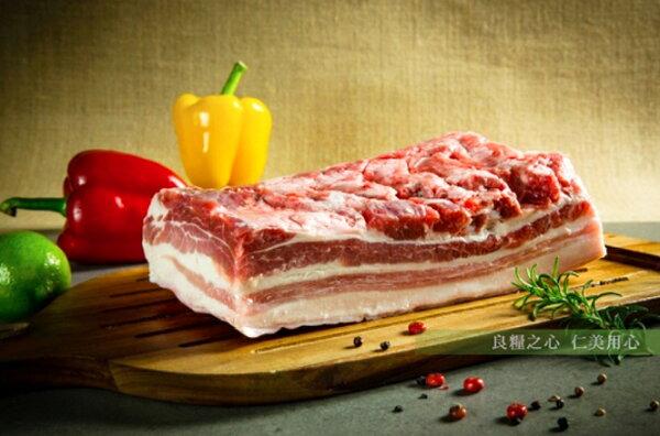 仁美良食:三源樂活豬帶皮五花肉條(300g包)