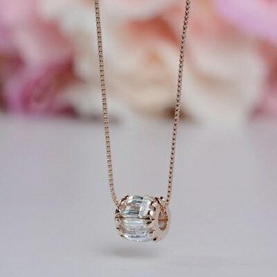 ~玫瑰金項鍊 水晶純銀吊墜~簡約精緻百搭 情人節生日 女飾品2色73dw122~ ~~米蘭