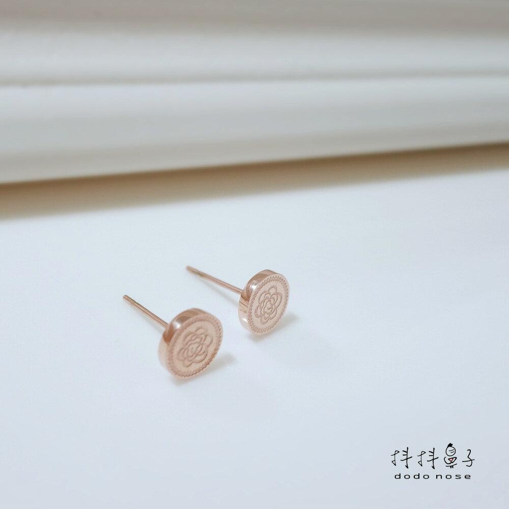 奢華雕刻玫瑰金耳環 3