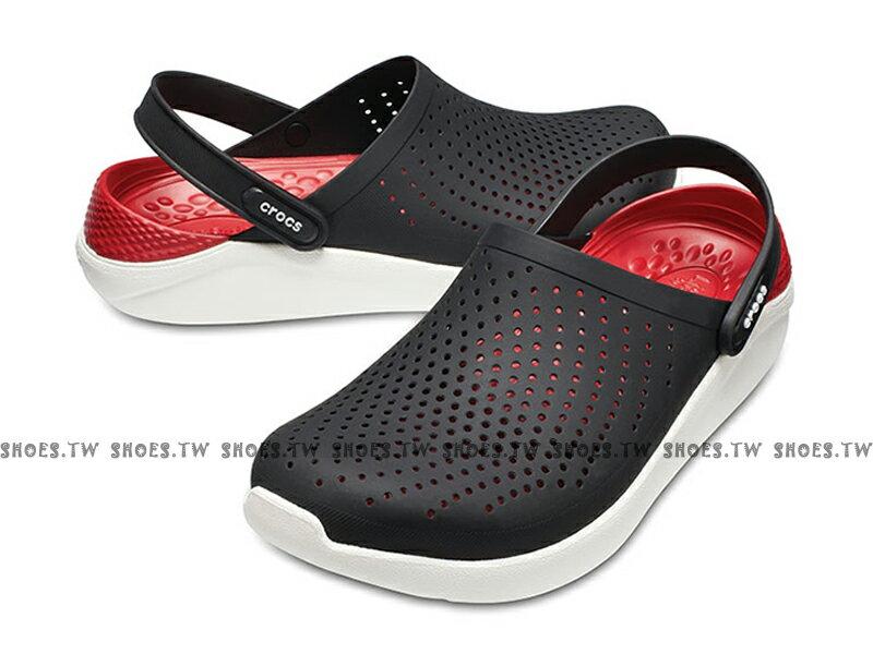 Shoestw【204592-066】CROCS Lite Ride 卡駱馳 鱷魚 輕便鞋 拖鞋 涼鞋 黑紅白 中性款 男生尺寸