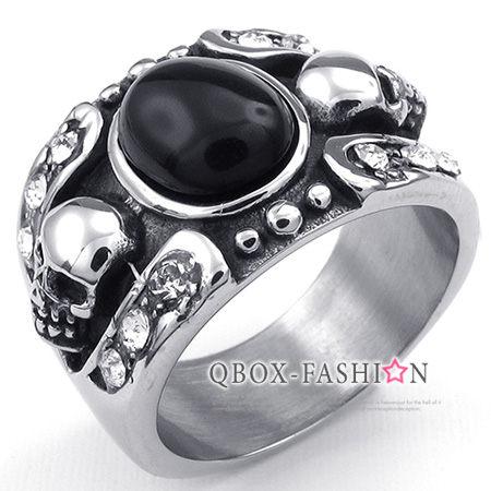 《 QBOX 》FASHION 飾品【W10023466】精緻個性雙邊骷顱頭瑪瑙石鑄造316L鈦鋼戒指/戒環(珍藏推薦)