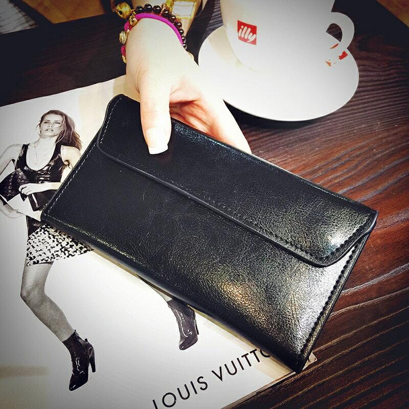 多卡位皮夾 長皮夾(女)長款皮製錢包女2021新款簡約歐美超薄卡位錢夾多功能皮夾女士錢夾『xy0261』