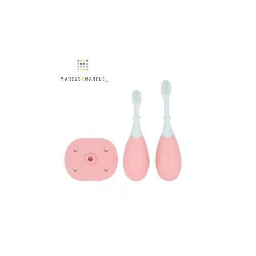 加拿大 MARCUS  MARCUS 3階段手握訓練學習牙刷組-玫瑰粉★愛兒麗婦幼用品★