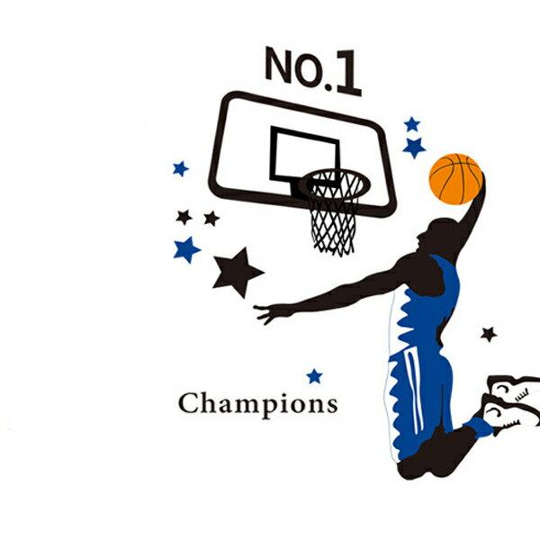 BO雜貨【YV1795-1】創意可重覆貼壁貼居家裝飾臥室客廳書房籃球運動員灌籃AY1940