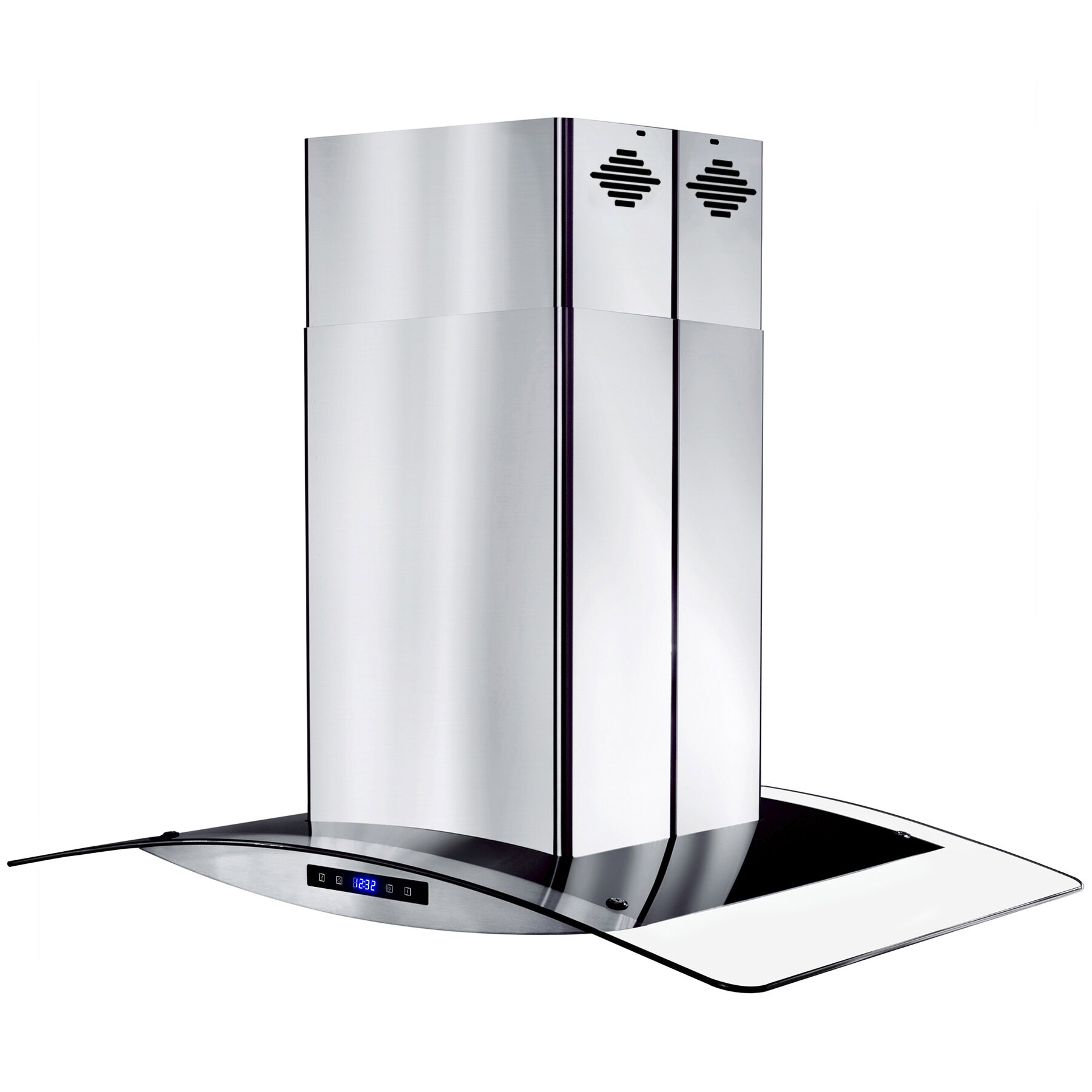 """AKDY 30"""" Island Mount Stainless Steel Tempered Glass Touch Panel Kitchen Range Hood Cooking Fan 6"""