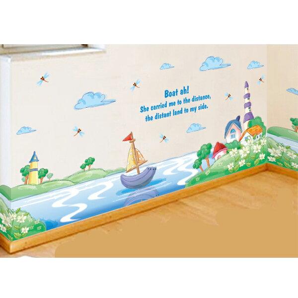 BO雜貨【YV4083-1】創意可重覆貼壁貼室內佈置手繪風踢腳線卡通帆船海洋湖泊小舟XL7175