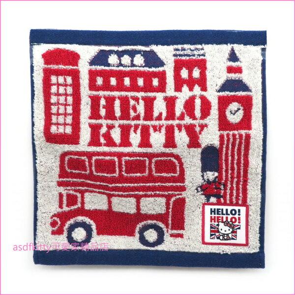 asdfkitty可愛家☆KITTY英國風小方巾手帕小毛巾-25*25公分-日本正版商品