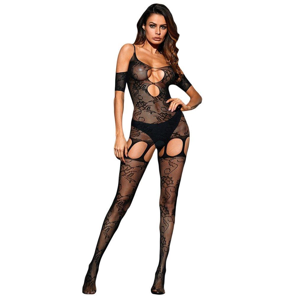 歐美蕾絲性感露肩短袖領口鏤空設計緊身連身絲襪貓裝 79978