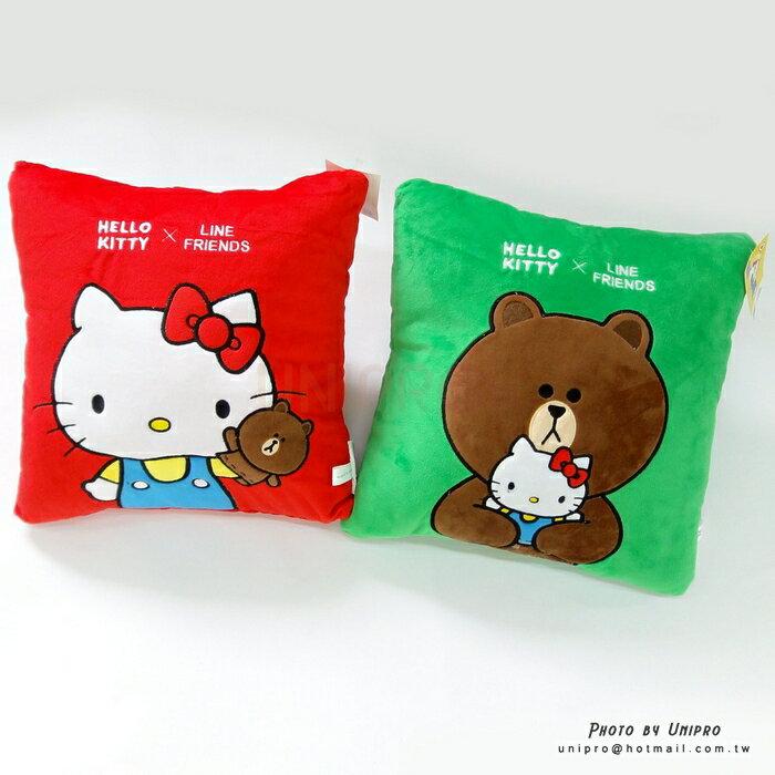 【UNIPRO】Hello Kity x LINE FRIENDS 熊大 凱蒂貓 四方抱枕 靠枕 居家擺飾 正版授權