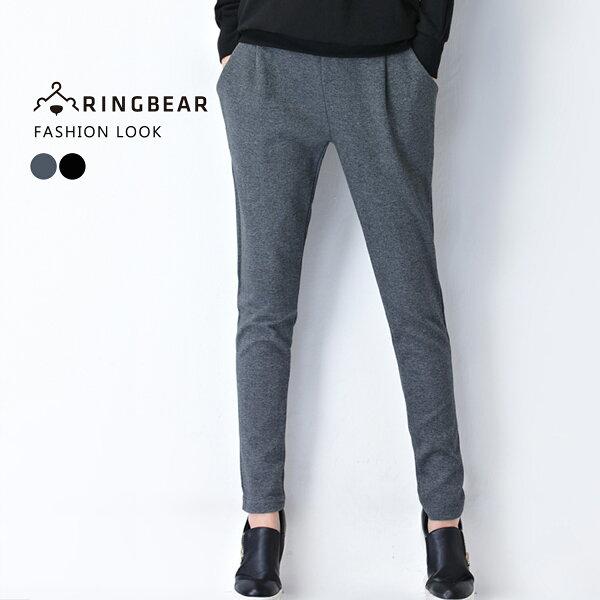 鉛筆褲--休閒時尚歐美風格鬆緊腰間裝飾車褶雙口袋純棉窄管褲鉛筆褲(黑.灰XL-4L)-P127眼圈熊中大尺碼