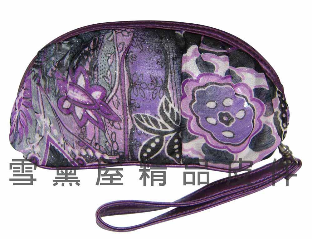 ~雪黛屋~sandia-polo 手拿化妝包分類包進口超輕透明紗+皮革材質萬用包WH-SA007