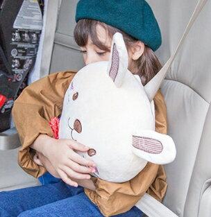 Lemonkid◆韓國卡通可愛動物小兔小熊獅子狐狸汽車安全帶護套兒童抱枕-小兔