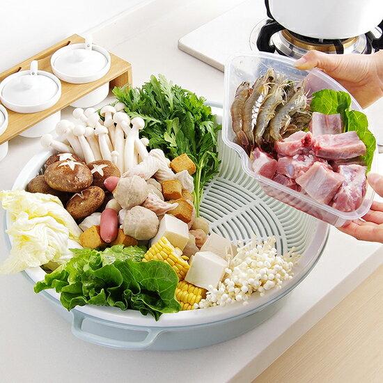 ♚MY COLOR♚圓形拼盤瀝水籃 雙層 火鍋 蔬菜 水果 瀝乾 食材 廚房 手把 大容量 清洗【G55】