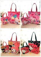 凱蒂貓週邊商品推薦到(售完不補)Hello Kitty帆布手提袋(1大+1小) 便當袋 購物袋
