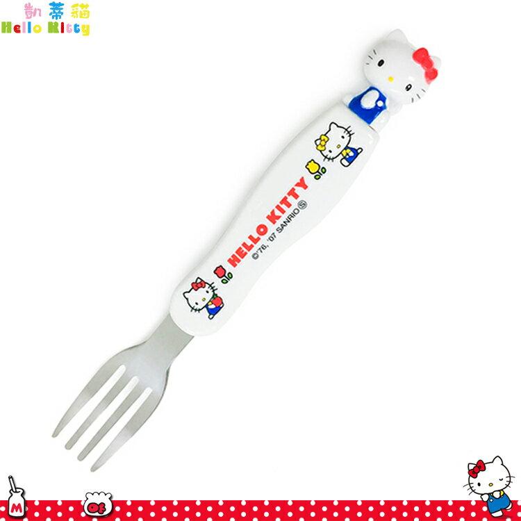 三麗鷗 Hello Kitty 凱蒂貓 立體頭叉子 環保 白色 餐具 立體公仔叉子 日本進口正版 115523