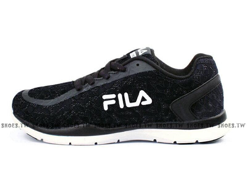《特價鞋款》 Shoestw【5J310R001】FILA 輕量訓練慢跑鞋 網布 閃亮 蕾絲 黑白 女款