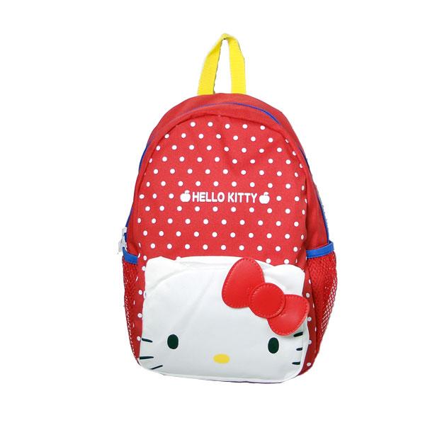 【真愛日本】16011400021 後背包-KT大頭白點紅 KITTY 凱蒂貓 三麗鷗 包包 後背包 收納