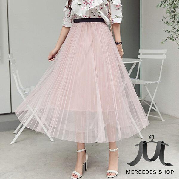 《全店75折》浪漫百褶雪紡網紗長裙(6色)-梅西蒂絲(現貨+預購)
