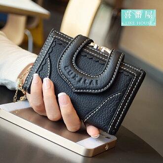 【喜番屋】熱銷no1真皮牛皮蕾絲女士多卡位三折皮夾皮包錢夾零錢包短夾中夾女包女夾LH354