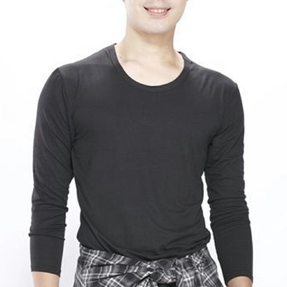 男保暖長袖上衣-輕摩毛系列-圓領-黑-1件