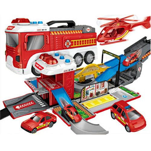 【孩子國】聲光場景賽道變形紅色消防車(送4台造型迴力小車)