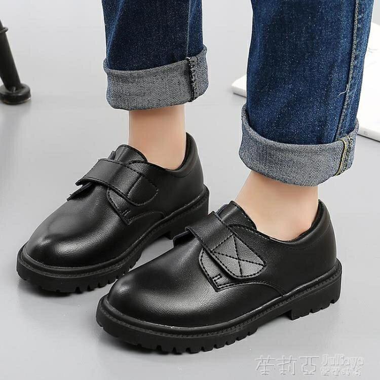 兒童鞋男童皮鞋2021新款韓版軟底英倫風黑色中大童學生演出鞋    時尚學院