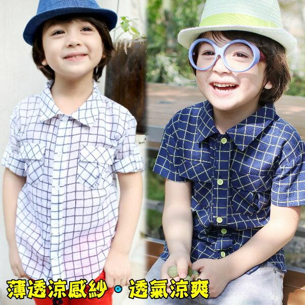 【班比納精品童裝】帥氣涼感格子口袋襯衫-藍/白-二色可選【BD16031801】