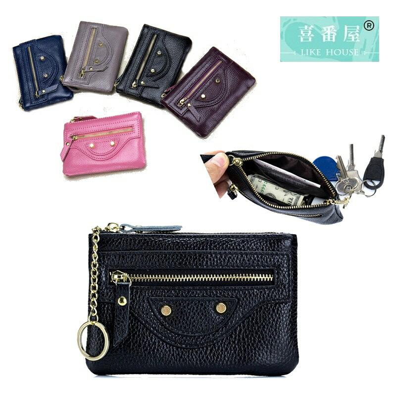 【喜番屋】真皮頭層牛皮女士皮夾皮包錢夾零錢包硬幣包卡片包卡片夾卡夾女包女夾【LH525】