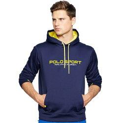美國百分百【全新真品】Ralph Lauren RL 連帽 帽T T恤 長袖 POLO SPORT 深藍 M號 I554