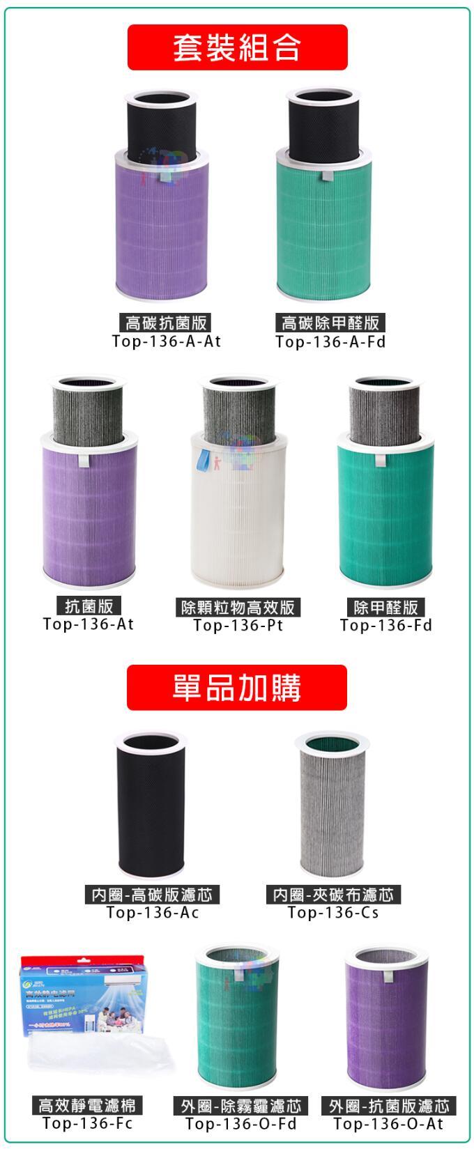 【尋寶趣】外圈-抗菌版 適用小米空氣淨化器濾芯 高效過濾 除PM2.5 除霉菌 濾網耗材 Top-136-O-At 5