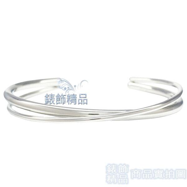 【錶飾精品】CK飾品KJ8XMF0002C形交叉固定式雙銀色女性手環316L白鋼全新原廠正品