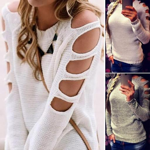 New Fashion Women Long Sleeve Knitting Sweater Hollow Solid Pullover Tops Casual Basic Knitted 2327359db74f960145589bd0f3b2b467