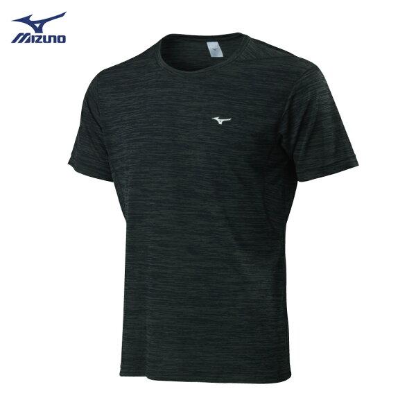 32TA800609(黑)合身版型吸汗快乾材質男短袖T恤【美津濃MIZUNO】