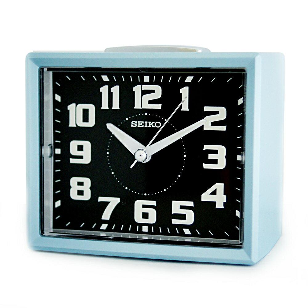 SEIKO 日本精工 QHK024L 長方型夜光靜音貪睡鬧鐘/時尚設計擺飾鬧鐘 - 藍 - 限時優惠好康折扣