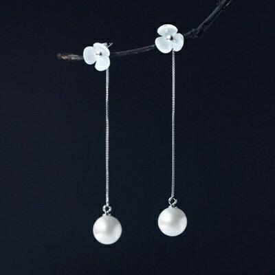 ☆925純銀耳環珍珠耳飾- 大方三葉草花朵生日情人節 女飾品73dq10【 】【米蘭 】
