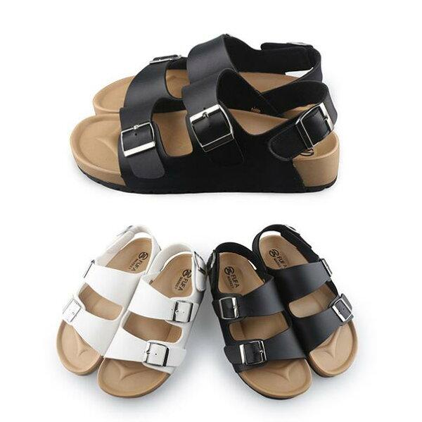 【Mystyle】富發牌1MQ50百搭雙帶釦飾仿皮質涼鞋(黑.白)23-25號-任兩雙免運