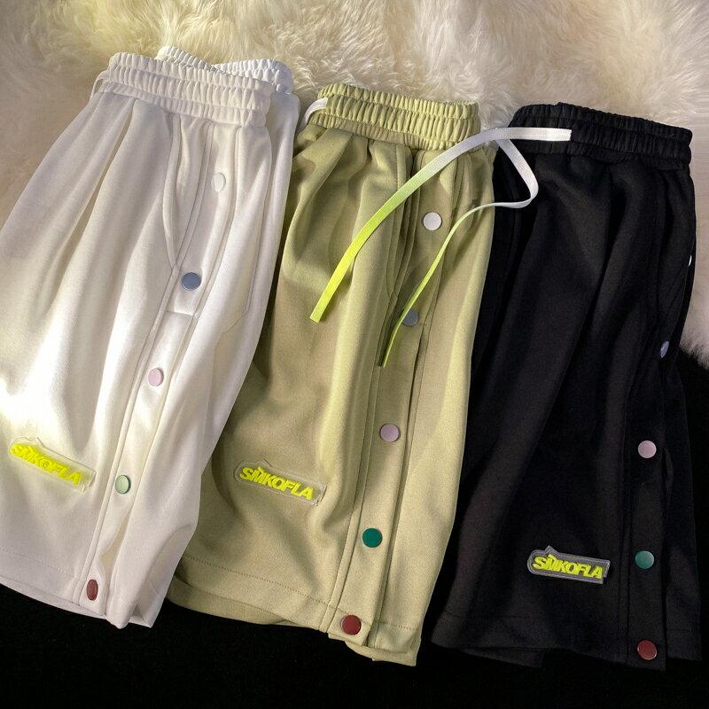 排扣短褲夏季學院風籃球運動褲潮流炸街設計感五分褲