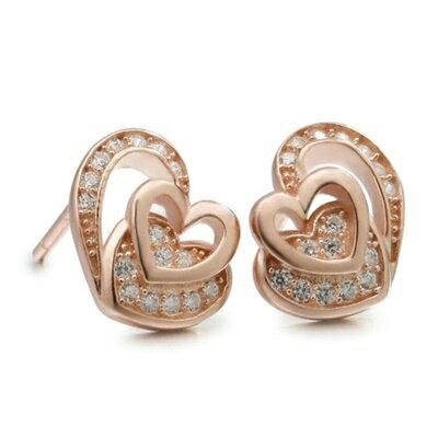925純銀耳環鑲鑽耳飾~ 精美心型生日情人節 女飾品2色73dm17~ ~~米蘭 ~