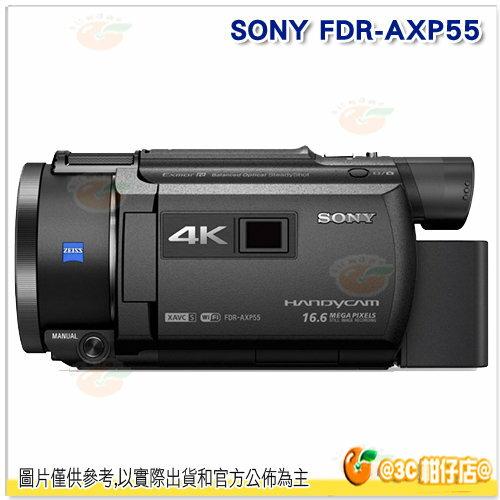 送64G95M+FV100副電+抗UV鏡+座充+原廠包等SONYFDR-AXP55數位攝影機台灣索尼公司貨4K縮時攝影20X光學防手震內建64G