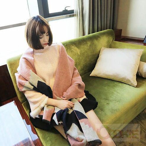 韓國東大門熱賣仿羊絨幾何菱形圍巾秋冬新款保暖披肩【庫奇小舖】