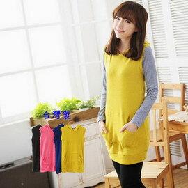 *孕味十足。孕婦裝* 【CFH4867】台灣製。素面八字型口袋連帽磨毛孕婦背心上衣 4色