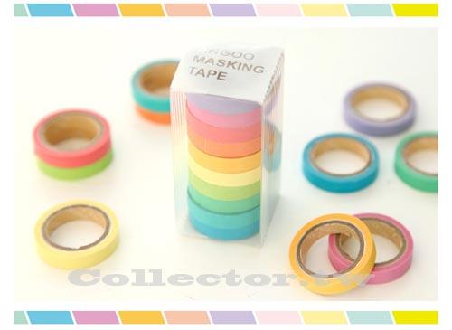 【L13102501】韓版 10色套裝可書寫彩虹和紙膠帶 糖果色 馬卡龍 手撕貼紙 (Mini)