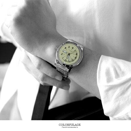手錶 型男軍用雙圈數字卡其不鏽鋼腕錶 搭戴SEIKO精工VX43石英機芯 柒彩年代【NE1813】30米防水