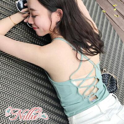 Nillie‧性感美背交叉綁帶小背心0411(黑綠)【N87243】