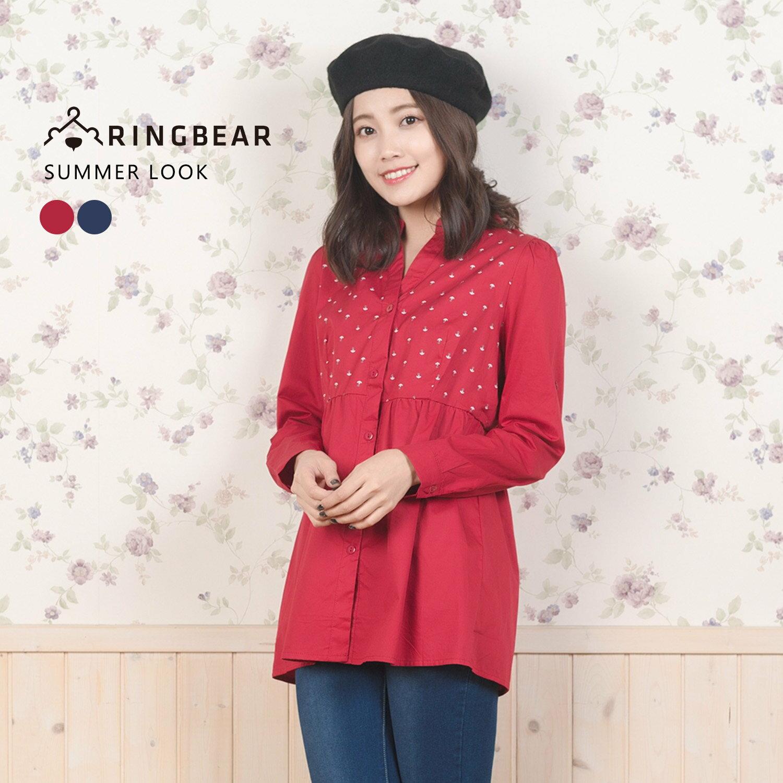 V領襯衫---可愛休閒船錨印圖V口立領細褶下襬長袖上衣(紅.藍XL-3L)-X248眼圈熊中大尺碼 0
