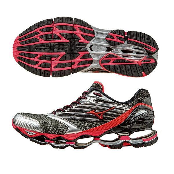 頂級鞋款 WAVE PROPHECY 5 (W)  女慢跑鞋 J1GD160060(銀灰X紅)S【美津濃MIZUNO】