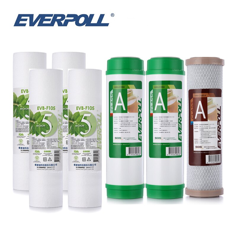 (共7支)EVERPOLL EVB-F105五微米PP濾心4支 EVB-U100A顆粒活性碳2支 EVB-C100A壓縮活性碳