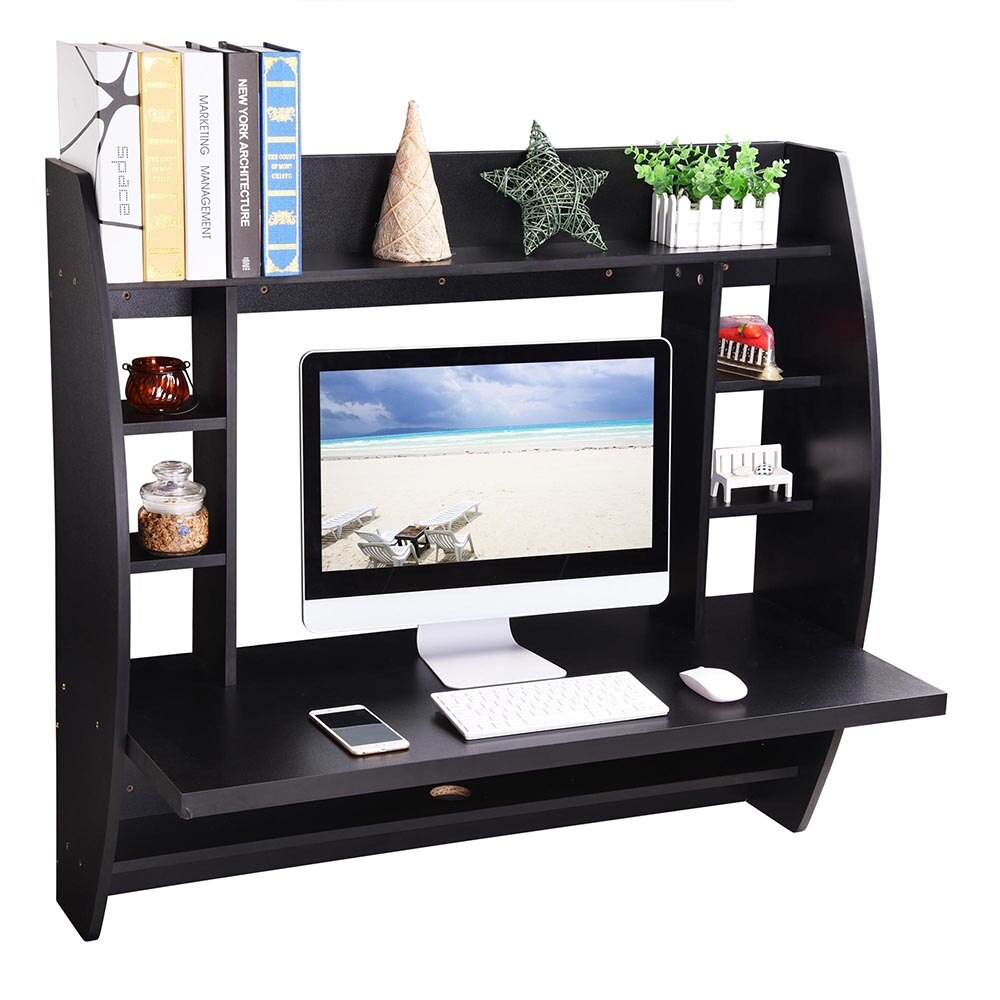 Wall Mounted Floating Computer Desk with Storage Shelves Laptop Home Office Furniture Work Black 5