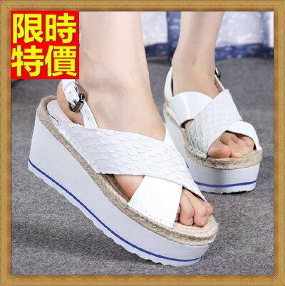 楔型涼鞋厚底涼鞋-麻繩鞋墊魚紋時尚真皮女坡跟涼鞋3色69w50【獨家進口】【米蘭精品】